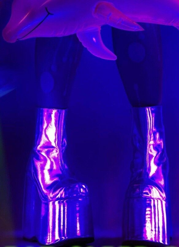 7  Silber 80s Club Platform Festival Go Go Dancer Stiefel schuhe Womans Größe 8 9 10