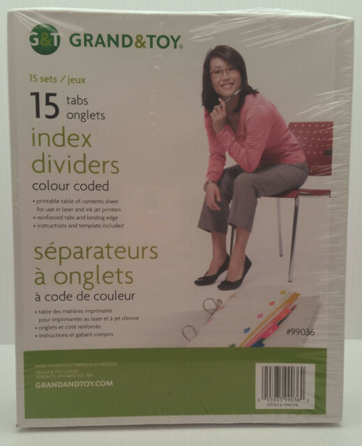 Grand & Toy Index Dividers, 15 sets (case)  New in Box
