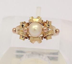 Ring-in-aus-585er-14-kt-Gelb-Gold-Rose-Gold-mit-Perle-Zuchtperle-Goldring-Gr-58
