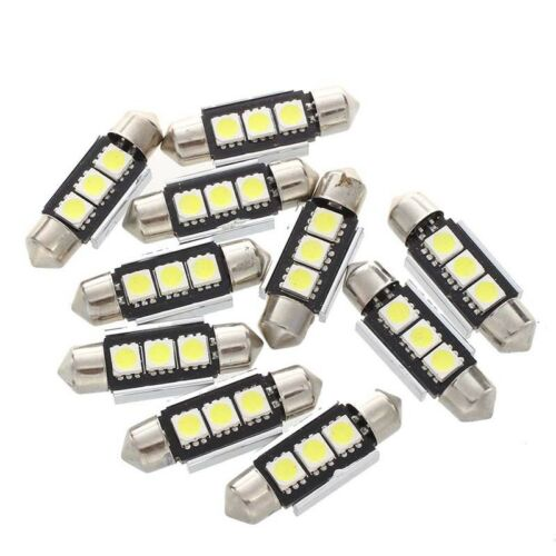 10X 36MM Bulb Lamp 3 LED 5050 SMD CANBUS White Car Dome P1O7