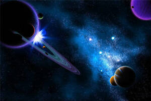 Image Is Loading Dark Blue Planets Stars Space Full Wall Mural