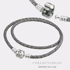 "Pandora Sterling Silver Double Silver Leather 16.1"" Bracelet  590705CSG"