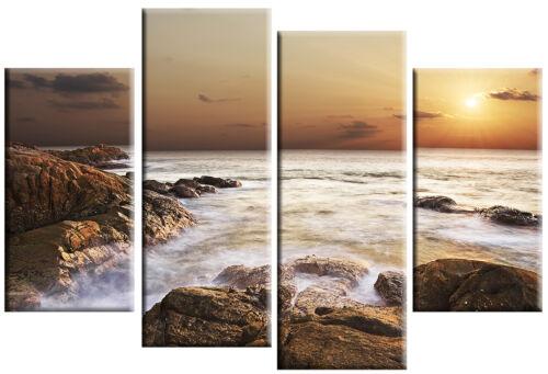 LARGE SCENIC ROCKY SEA CANVAS ART SUNSET PICTURE MULTI 4 PANEL WALL ART 100cm