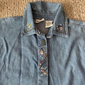 VTG-Snowman-Xmas-Embroidered-Button-Up-Denim-Shirt-Womens-Medium-Boxy-Capacity