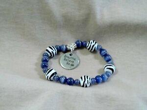 Periwinkle & Zebra Bracelet with Breath Believe Be Dandelion Charm