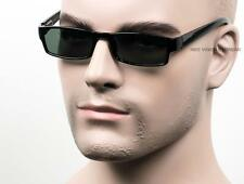Black Slim Retro Square Sunglasses Green Real Glass Lens Spring Temple Black P34