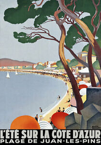 TT50-Vintage-Cote-D-039-Azur-French-Riviera-Travel-Poster-A3-A2-Re-Print