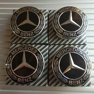 4x-Mercedes-Black-Alloy-Wheel-Centre-Hub-Caps-75mm-A-B-C-E-S-M-Class-ML-CLA-GLA
