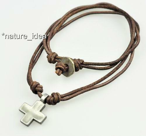 Double 2mm Leather Surfer Beach Choker Necklace Cross