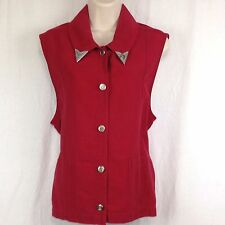 Sun River Womens XL Red Demin Western Vest Button Silver Removable Collar Tabs
