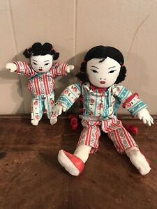 Vintage-Asian-Chinese-Dolls-Oriental-Soft-Body-Lot-of-2