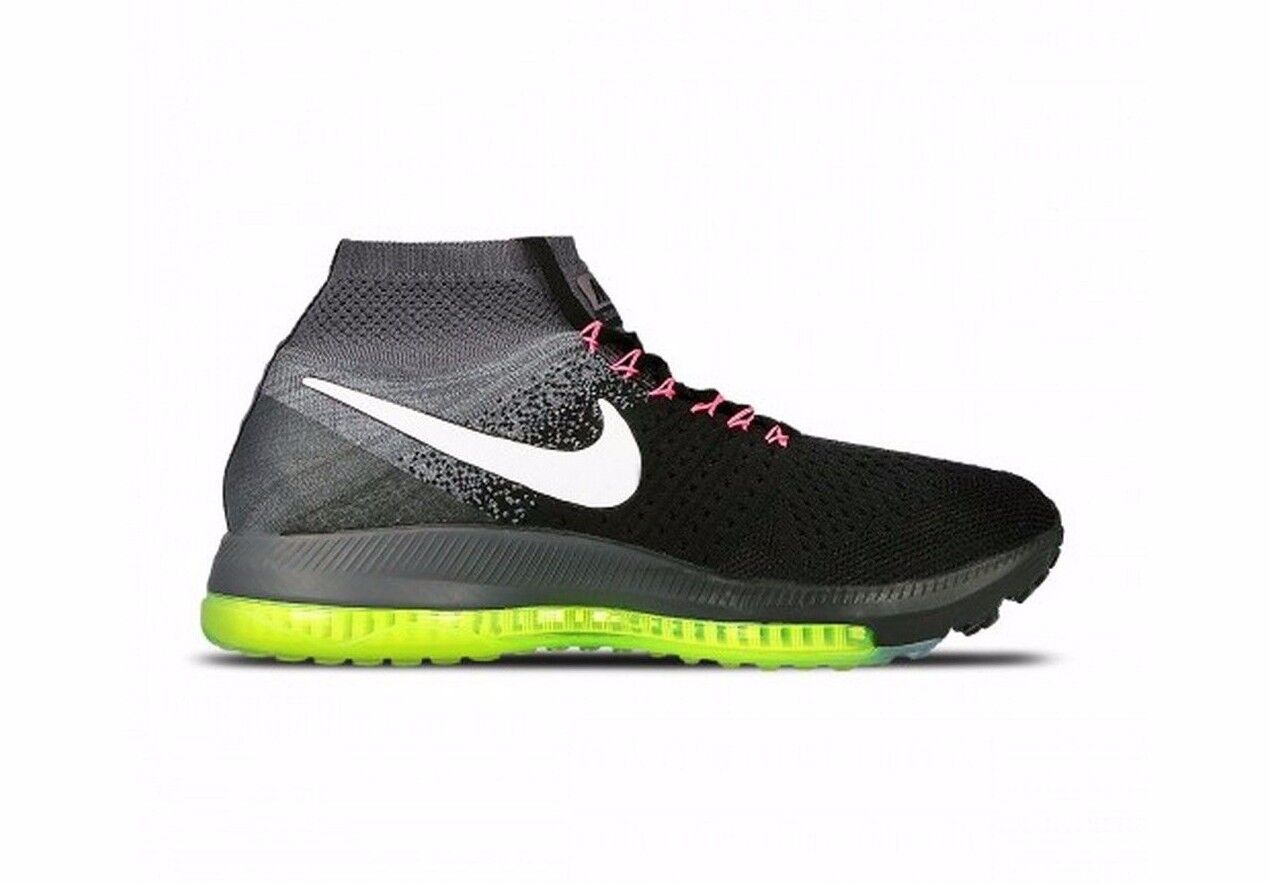 Women's Nike Zoom All Out Flyknit Black White Cool Grey Volt running 845361-002