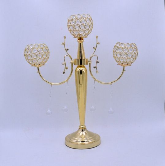 Crystal Gold 3 Arms Candelabra  Floral Riser Wedding Centerpieces with Crystal