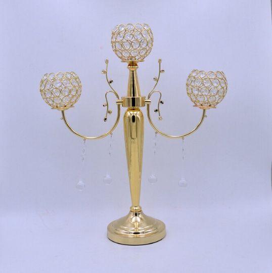 Crystal or 3 Bras Candélabre Floral Riser Mariage Décorations Avec Cristal