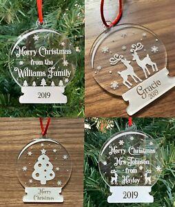 Snow Globe Ornaments - Engraved Acrylic - Teacher Gift - Add A Name - Gift Ideas