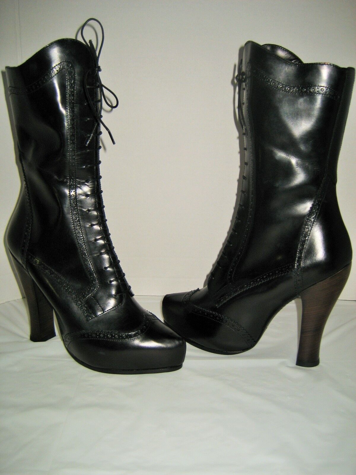 NEW Women Marc Jacobs Lace Up Side Zip Boots US 10 Black Leather High Heel