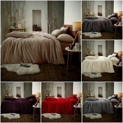 Luxury Teddy Fleece Duvet Covers Fluffy Warm Soft Bedding set cream Super king