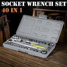 40 Piece Ratchet Wrench Socket Tool Set Metricsae 14 Amp 38 Drive With Case