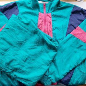 Vintage-80s-Women-Windbreaker-2-Piece-Jacket-Pants-Nylon-Colorblock-XL-TALL