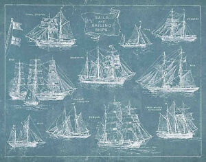 Sailing ships by wild apple blueprint boat vintage print poster image is loading sailing ships by wild apple blueprint boat vintage malvernweather Gallery