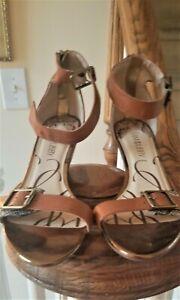 Sam & Libby Women's Sandals Brown Cheetah Sandals  Wedge Heel SZ 10