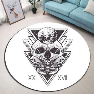 Hand Printed Sugar Skull Round Area Rug Geometric Kiss