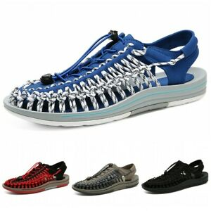 Mens Flats Woven Summer Beach Roman Sandals Causal Hollow Shoes Closed Toe 46 D