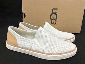 a64ab26511a Details about Ugg Australia Adley Perf White Leather Shoes 1019690 Slip On  Fashion Sneakers
