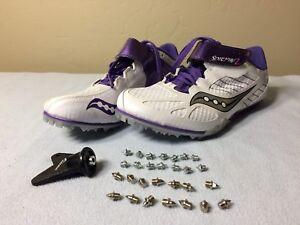 2c9c5d9fefd8 Saucony 10187-2 Womens Spitfire 2 Track Shoe White Purple Size 8 ...