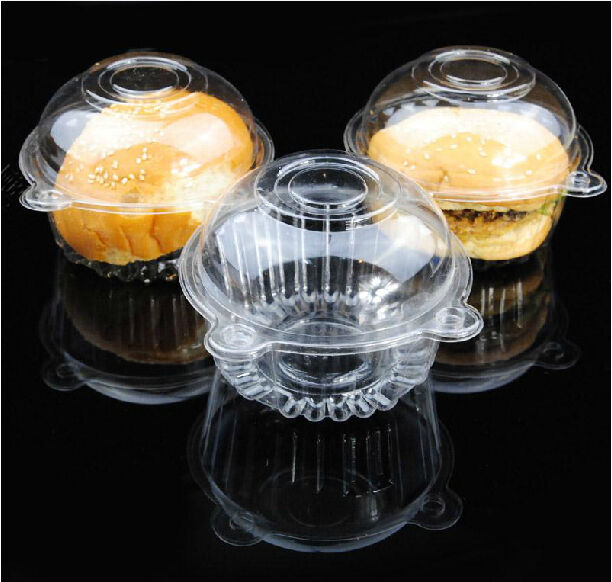 hot! 100p/set Clear Plastic Single Cupcake Muffin Case Pods Domes Cup Cake Boxes