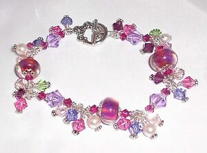 RAINBOW-CONNECTION-Lampwork-Crystal-Silver-Purple-Pink-Charm-Bracelet