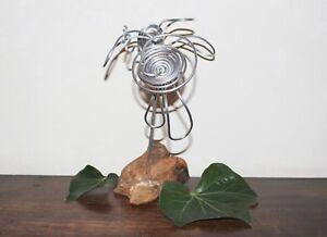 Natur Deko Tischdeko Drahtfigur Blumen Arrangement 2 Alublumen Auf