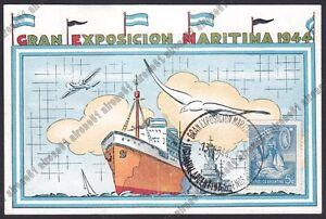 ARGENTINA-SHIP-GRAN-EXPOSICION-MARITIMA-1944-MARINA-NAVI-Cartolina-viaggiata
