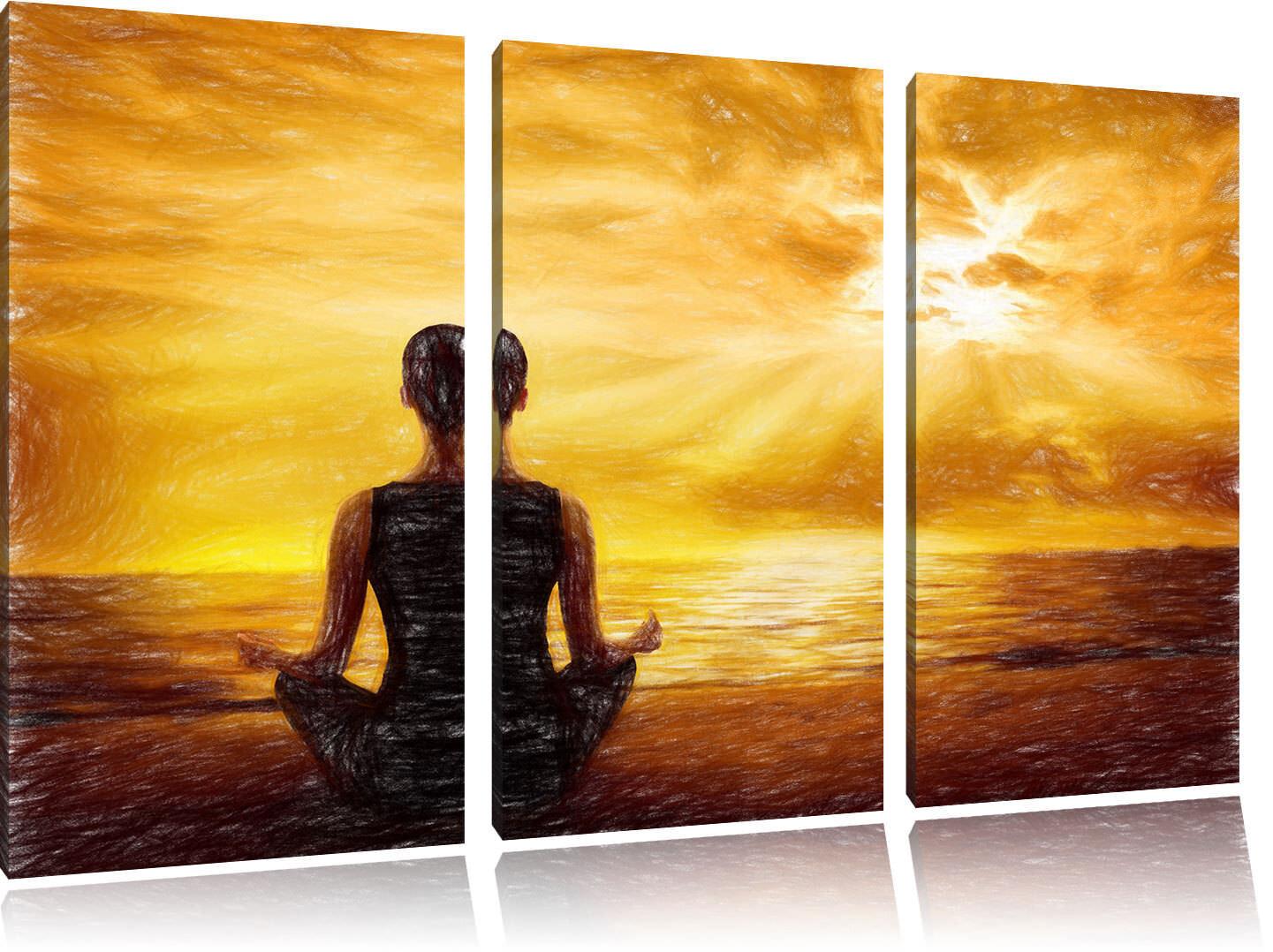 Frau meditiert bei Sonnenaufgang am Strand 3-Teiler Leinwandbild Wanddeko Kunstd