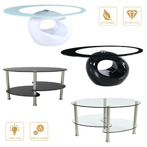 Details About Modern High Gloss Gl Oval Coffee Table Living Room Furniture Chrome W Shelf