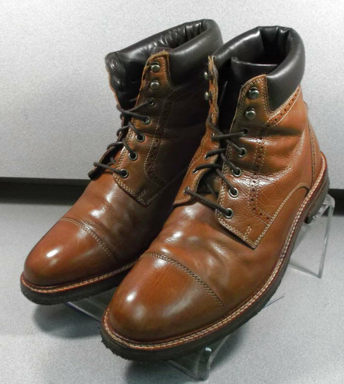 271230 PFBT40 Mens Boots Size 10 M Dark Tan Leather 1850 Series Johnston Murphy