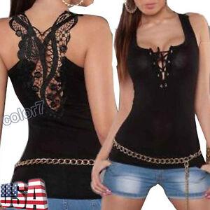 Fashion-Women-Bandage-Tank-Top-Summer-Lace-Halter-Sleeveless-Vest-Camisole-Shirt