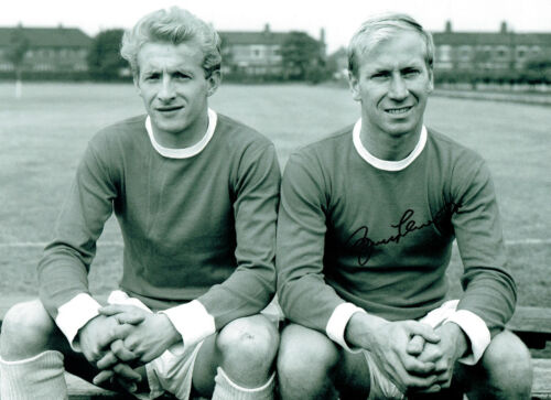 Bobby CHARLTON Signed Autograph Man United 16x12 with Denis LAW Photo AFTAL COA