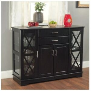 black buffet cabinet sideboard with doors console for entryway china rh ebay com black wood buffet cabinet black buffet cabinet with glass doors