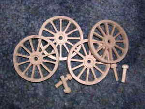 WAGON /& CANNON WHEELS 2 Inch Diameter Alder small wood toy buggy carriage cart