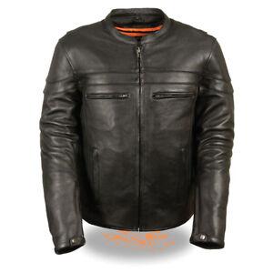 Mens-Black-Leather-Vented-Motorcycle-Jacket-Utility-Pockets-Gun-Pockets