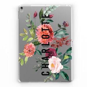 Lado-Personalizado-Nombre-Personalizado-Floral-Claro-Transparente-Estuche-Cubierta-Para-APPLE-IPAD