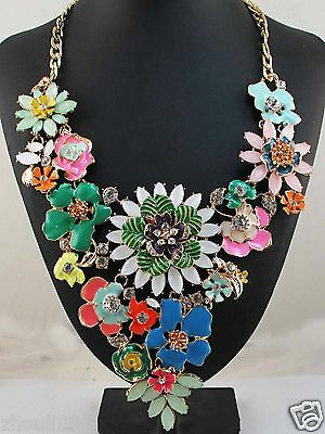 Hot woman  Statement flower crystal chunky pendant chain charm necklace 1086