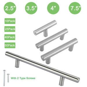 T Bar Pull Handles Stainless Steel Kitchen/Bath Cabinet Hardware Modern Knobs