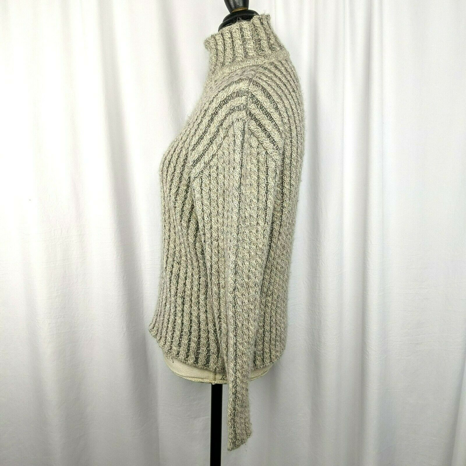 Inis Meain Gray Beige Alpaca Cable Knit Sweater S… - image 4