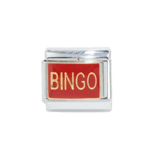 fits 9mm classic Italian charm bracelets Bingo red enamel Italian Charm