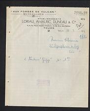 """TOURS (37) QUINCAILLERIE / AUX FORGES DE VULCAIN """"LORIAU ,DUNEAU & AMALRIC"""" 1949"""