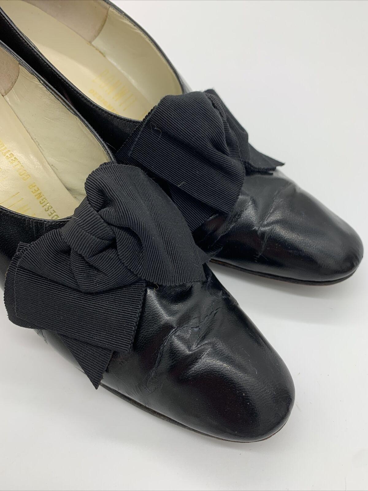 Antique Edwardian Bonwit Teller Black Leather Sho… - image 2