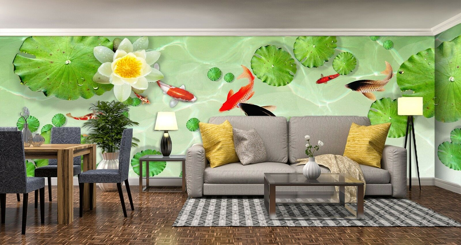 3D Koi Pond Lotus 7116 Wallpaper Mural Wall Print Wall Wallpaper Murals US Lemon