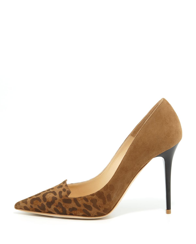 Jimmy Choo Alia Leopard-Toe Suede Pump, Size 40